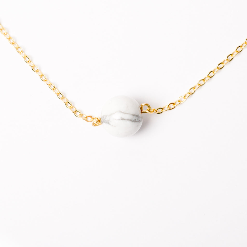 """Rolling Marble"" Howlite Necklace"