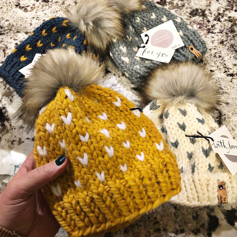 Fair Isle Heart Pom Toques - BABY & TODDLER