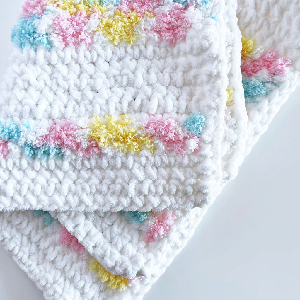 Baby Blanket - White & Rainbow / Rectangle