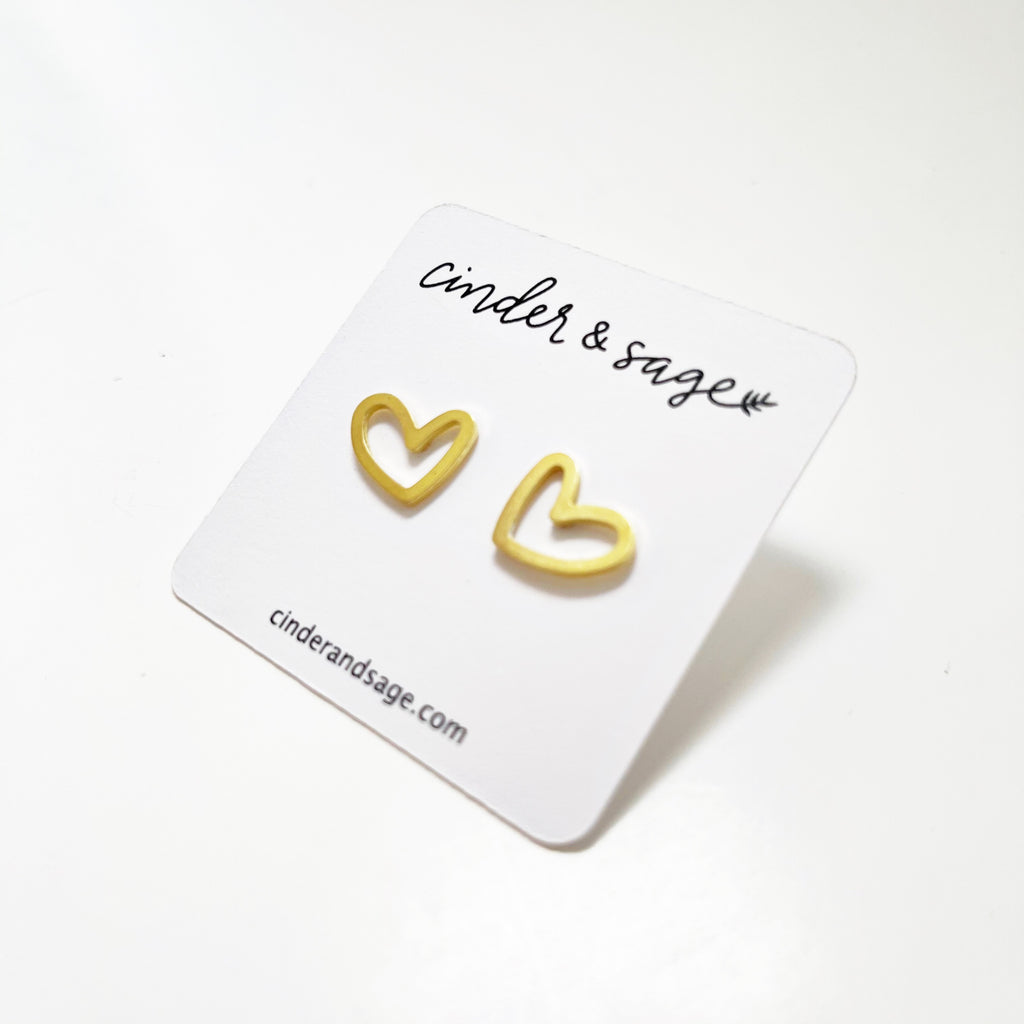 """Love Ya"" Heart Outline Studs"
