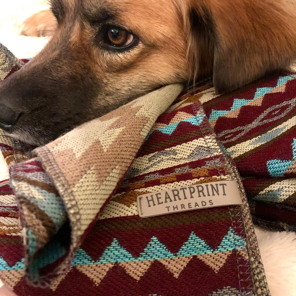 HeartPrint Dog Bandanas - MAROON COMBO