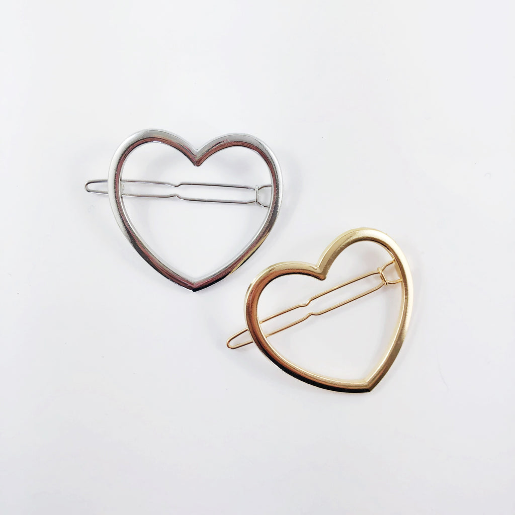 """Sunday"" Hair Clips - Hearts"