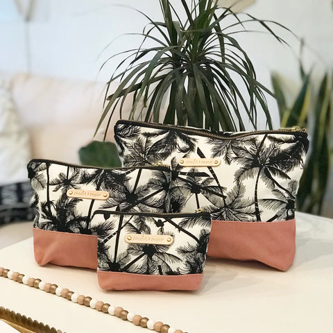 Carry-All Pouches - Pink / Palm Trees