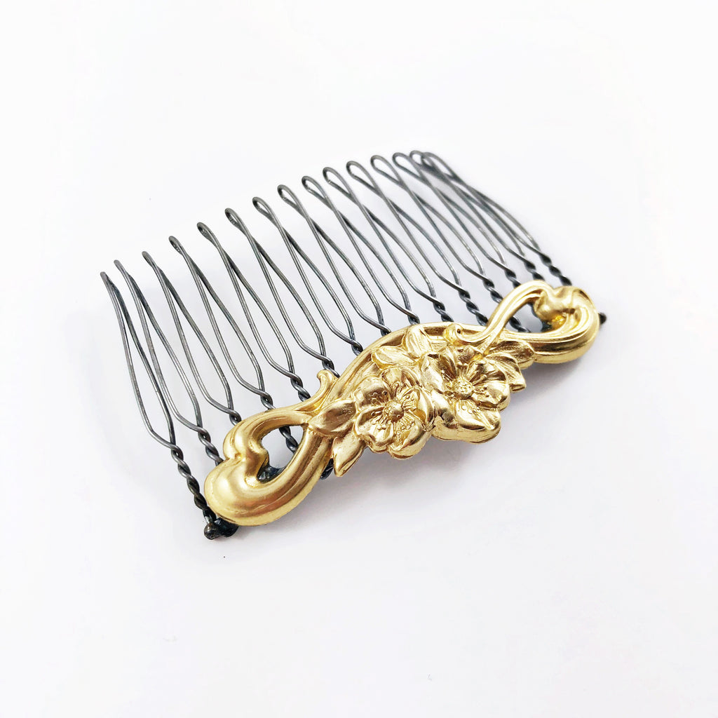 """Flower Scroll"" Medium Hair Comb"