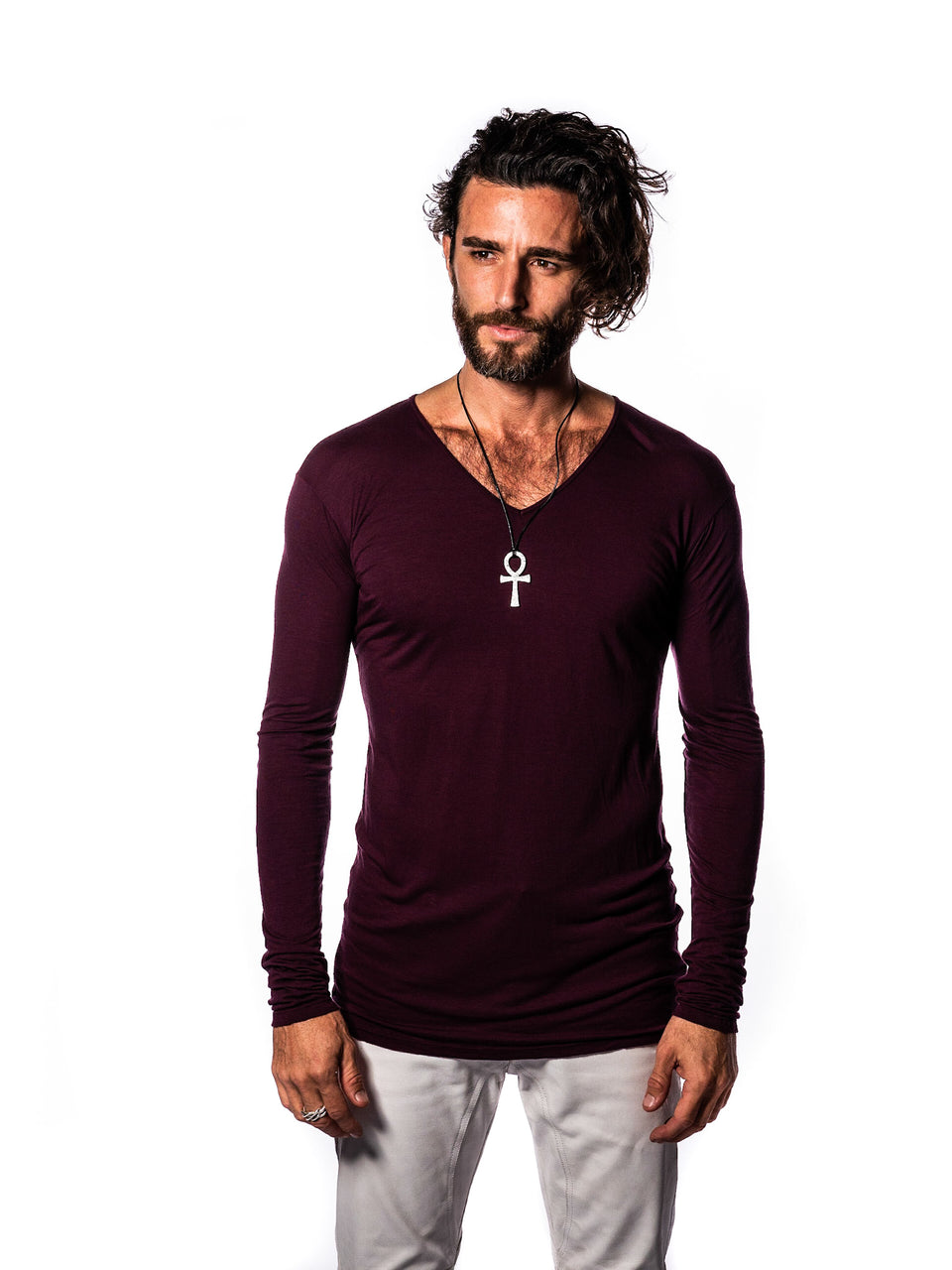 Long Sleeve V-Neck Shirt - Coeur Crimson