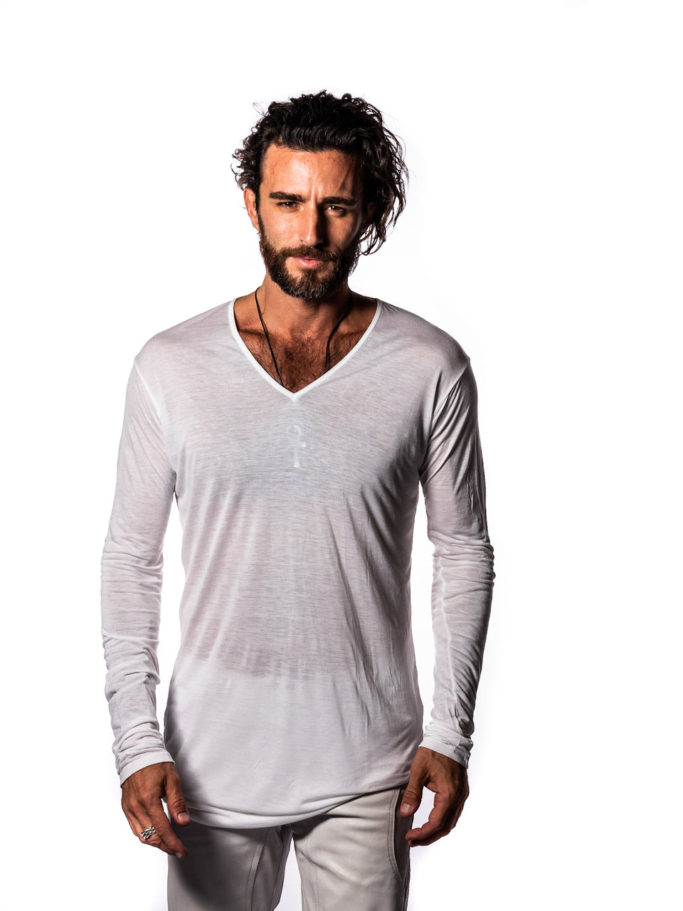 Long Sleeve V-Neck Shirt - Illuminated White
