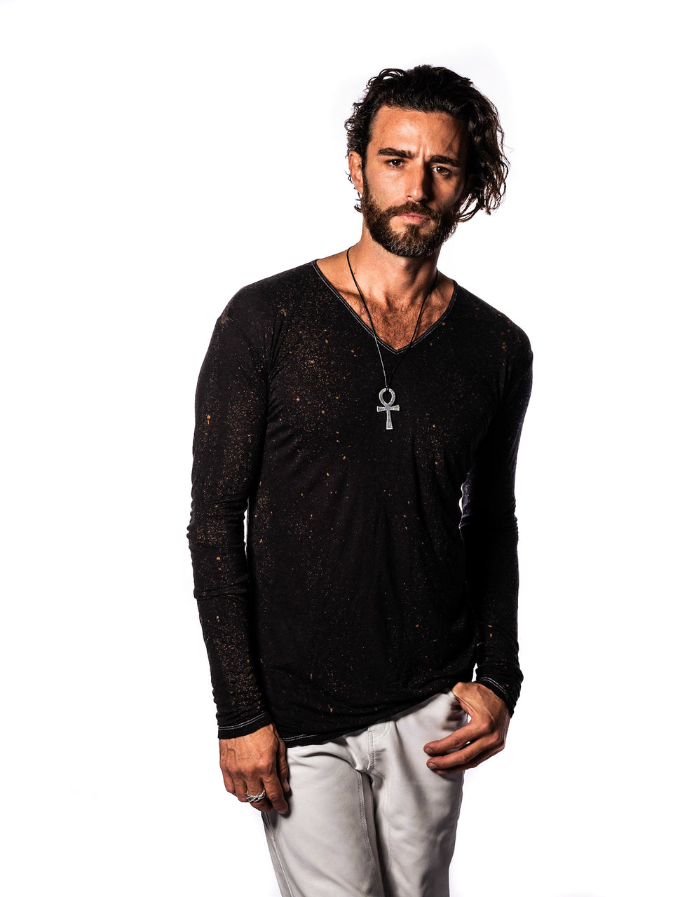 Long Sleeve V-Neck Shirt - VIntage Cosmic Black