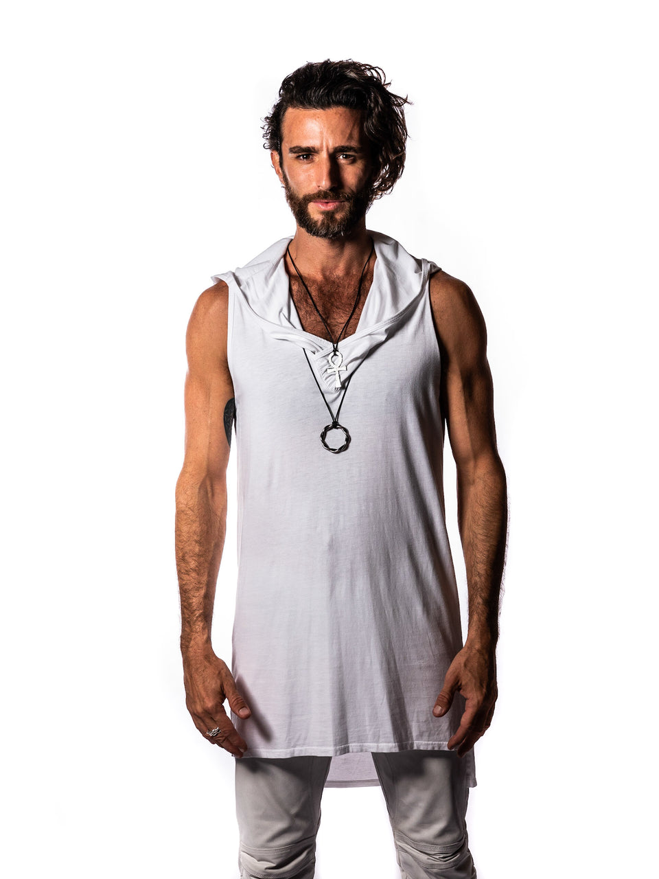 Sleeveless V-Neck Shirt with Hood - Illuminated White