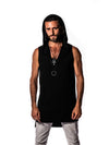 Bamboo - Black - Sleeveless Shirt - V-Neck with Hood