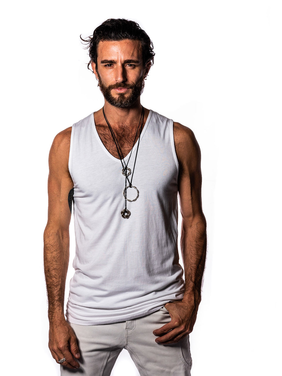 Sleeveless V-Neck Shirt - White