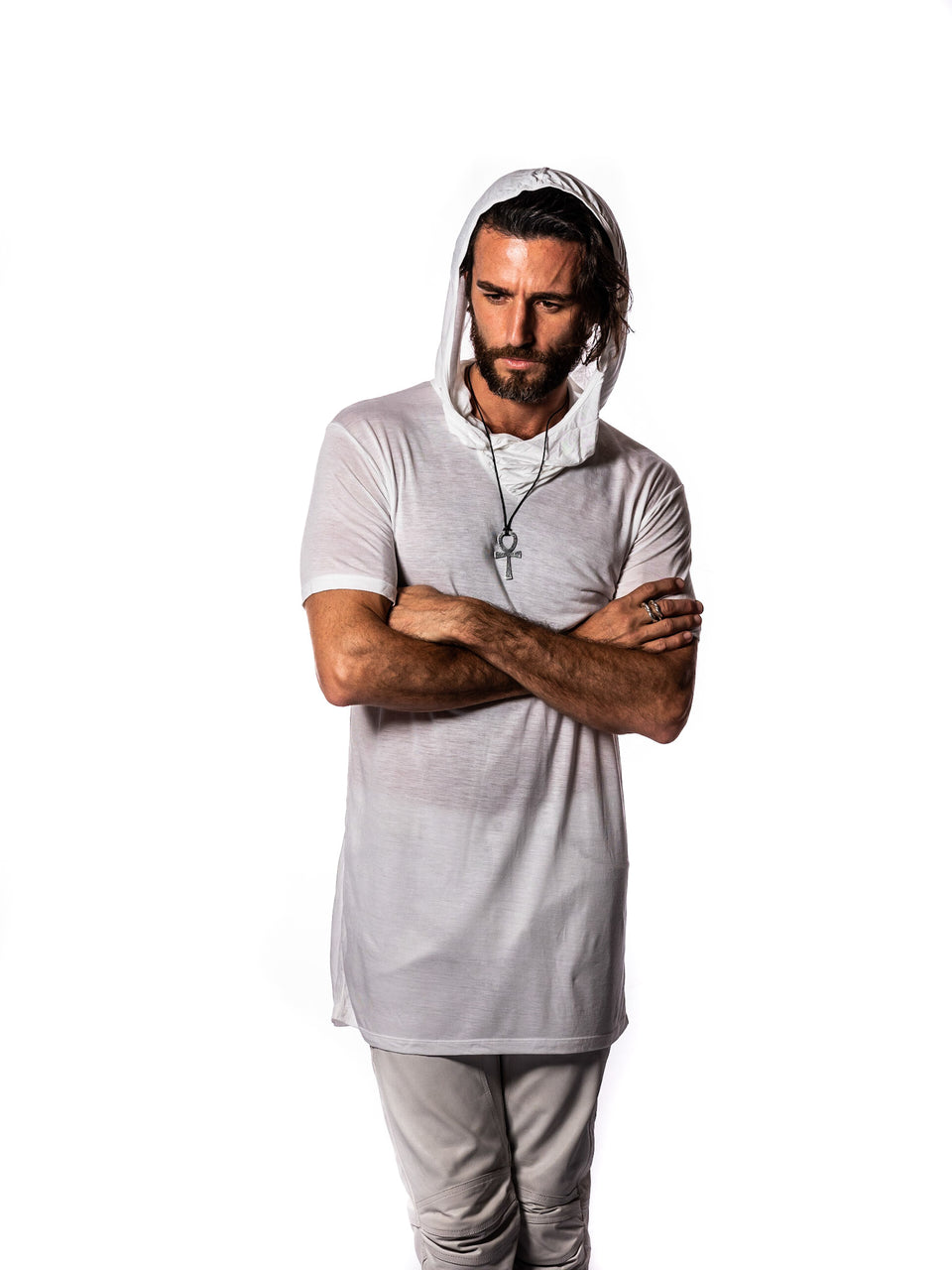 Short Sleeve V-Neck Shirt with Hood - Illuminated