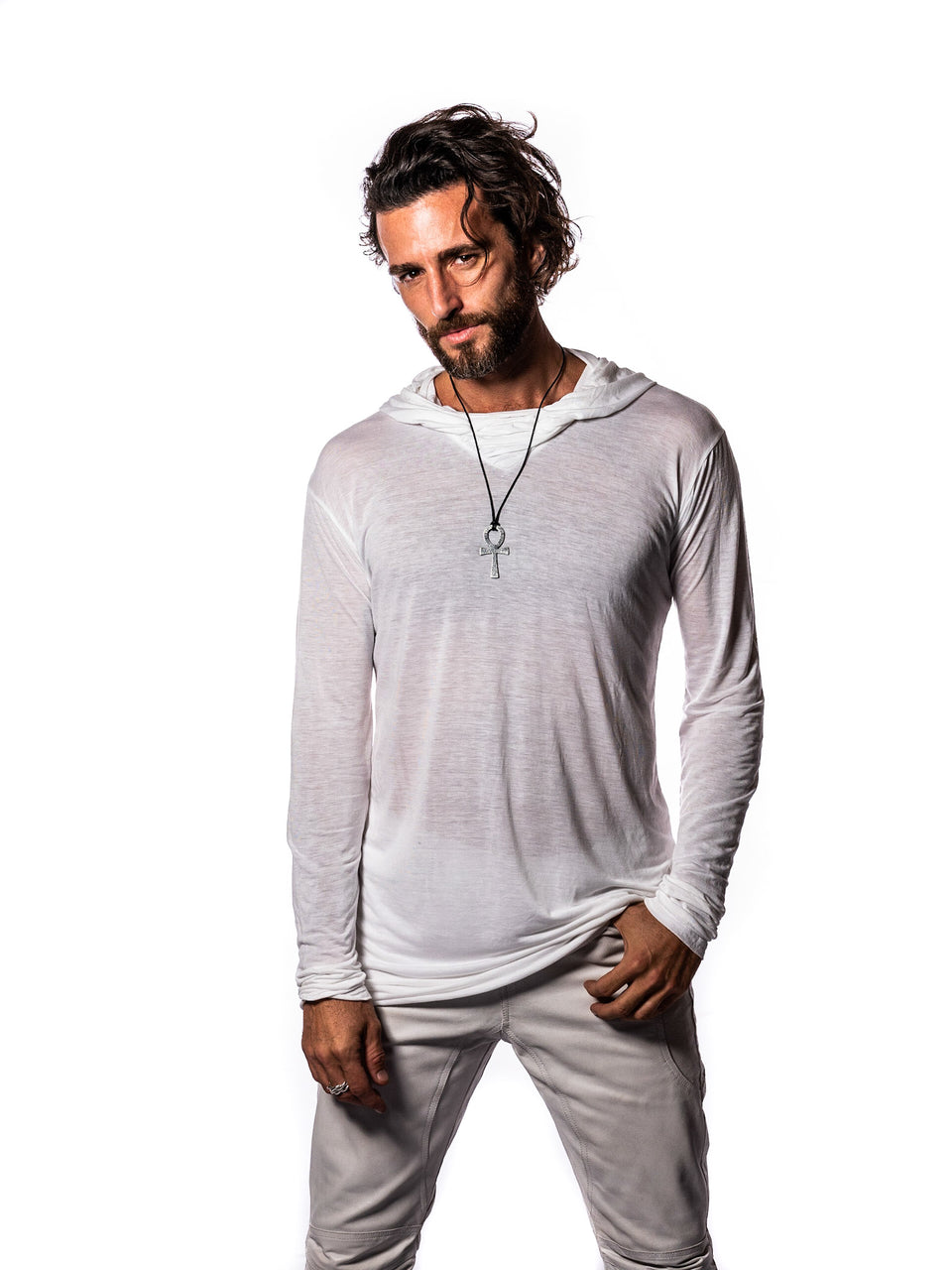 Long Sleeve V-Neck Shirt with Hood - Illuminated W