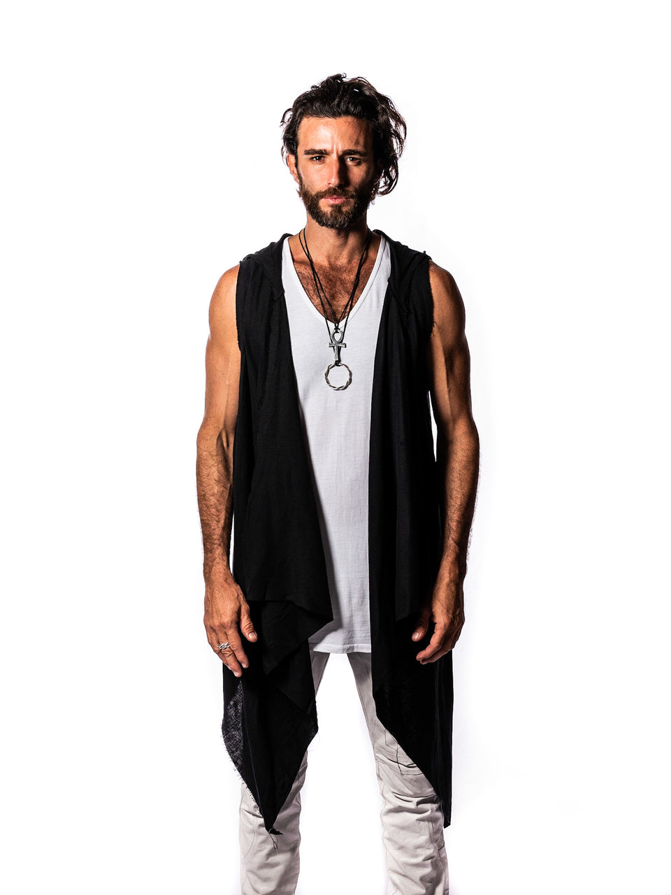 Linen Vest - Black - Basic or Skull - with Hood