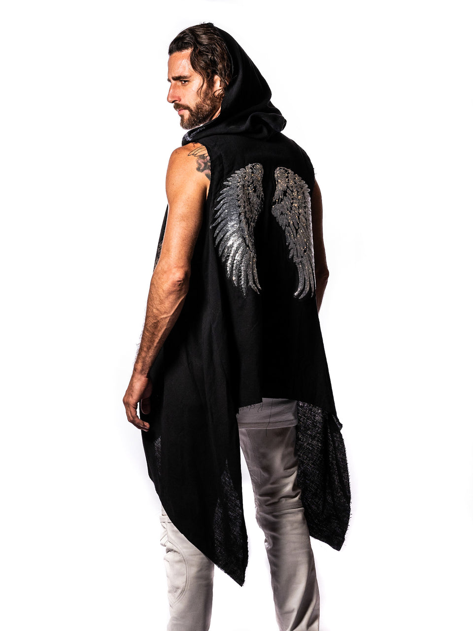 Linen Vest - Black - Wings - with Hood