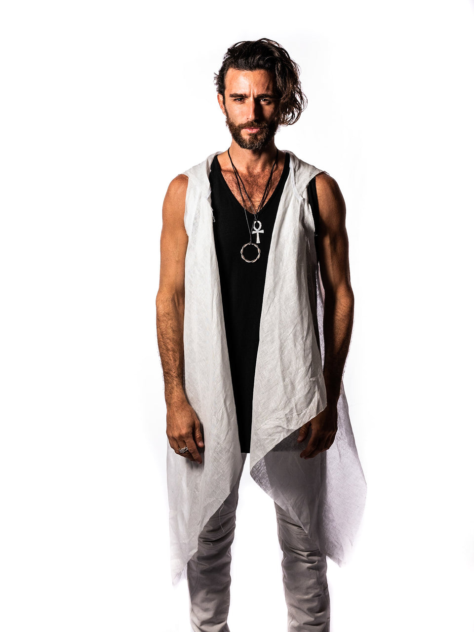 Linen Vest - White - Basic or Scull - with Hood