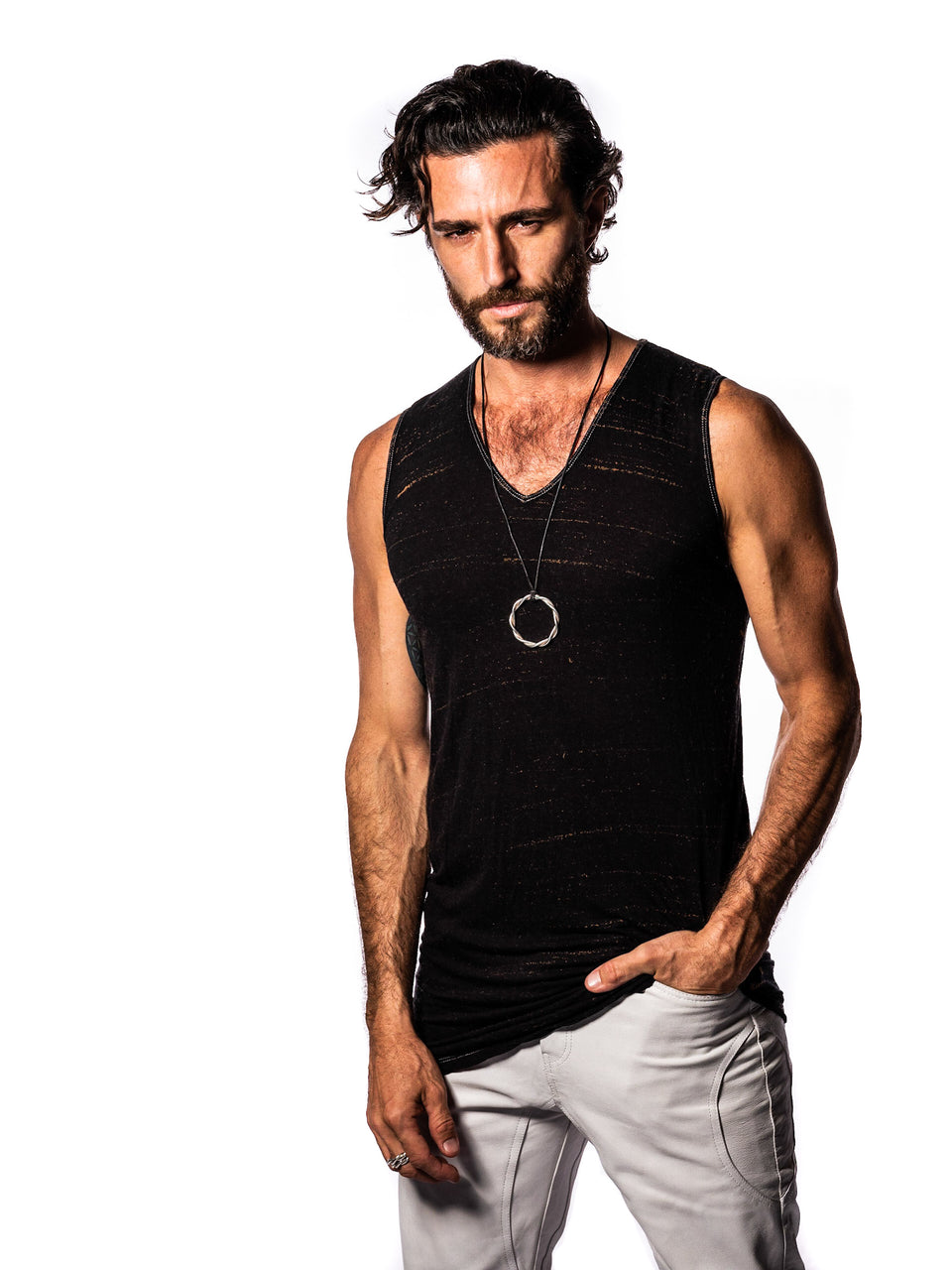 Sleeveless V-Neck Shirt - Vintage Meteor Black