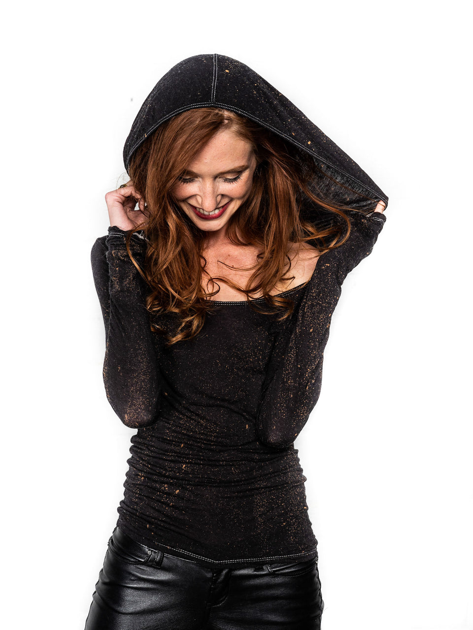 Long Sleeve Scoop Neck Shirt with Hood - Vintage Cosmic Black