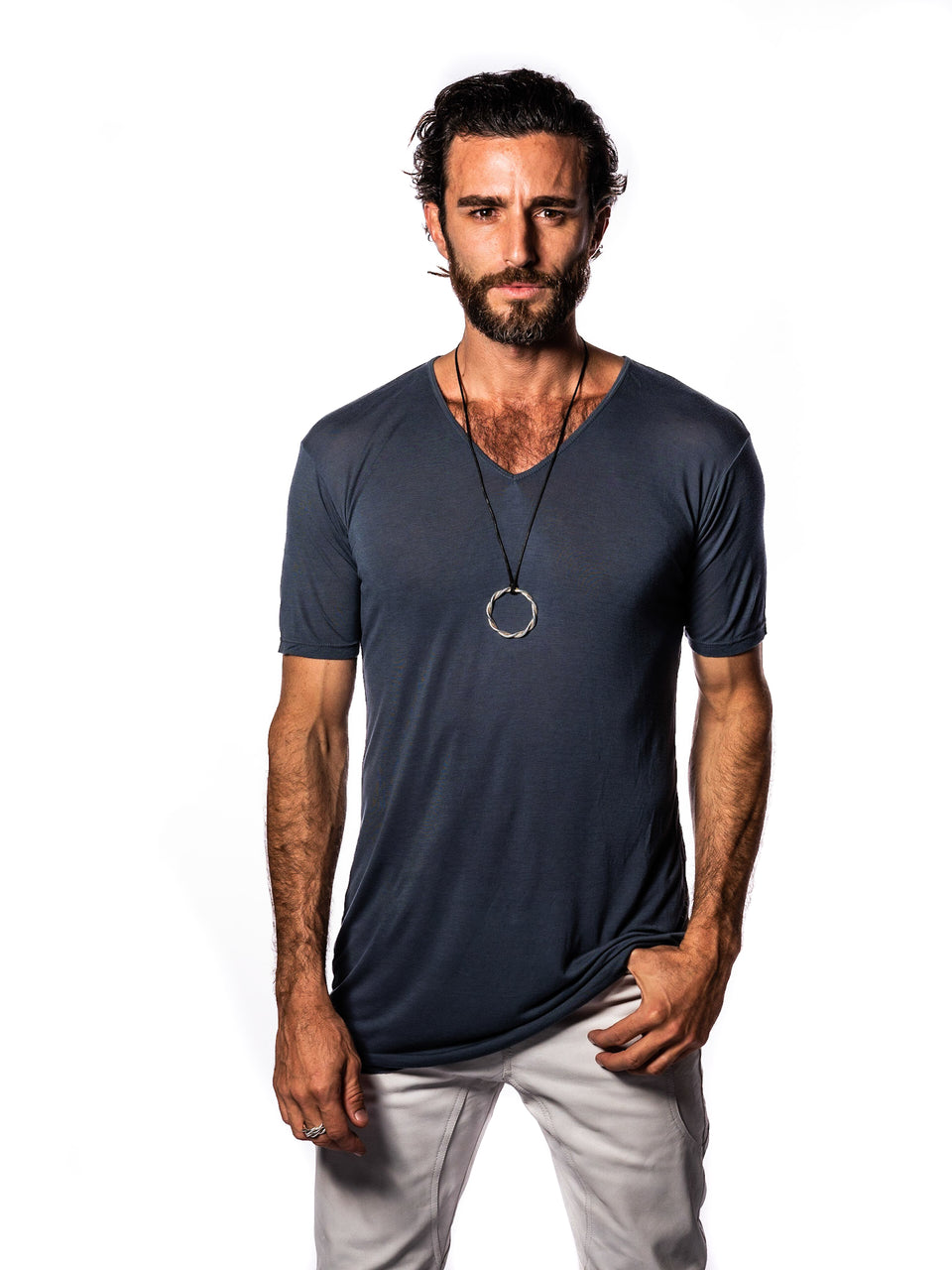 Short Sleeve V-Neck T-Shirt - Steele Blue