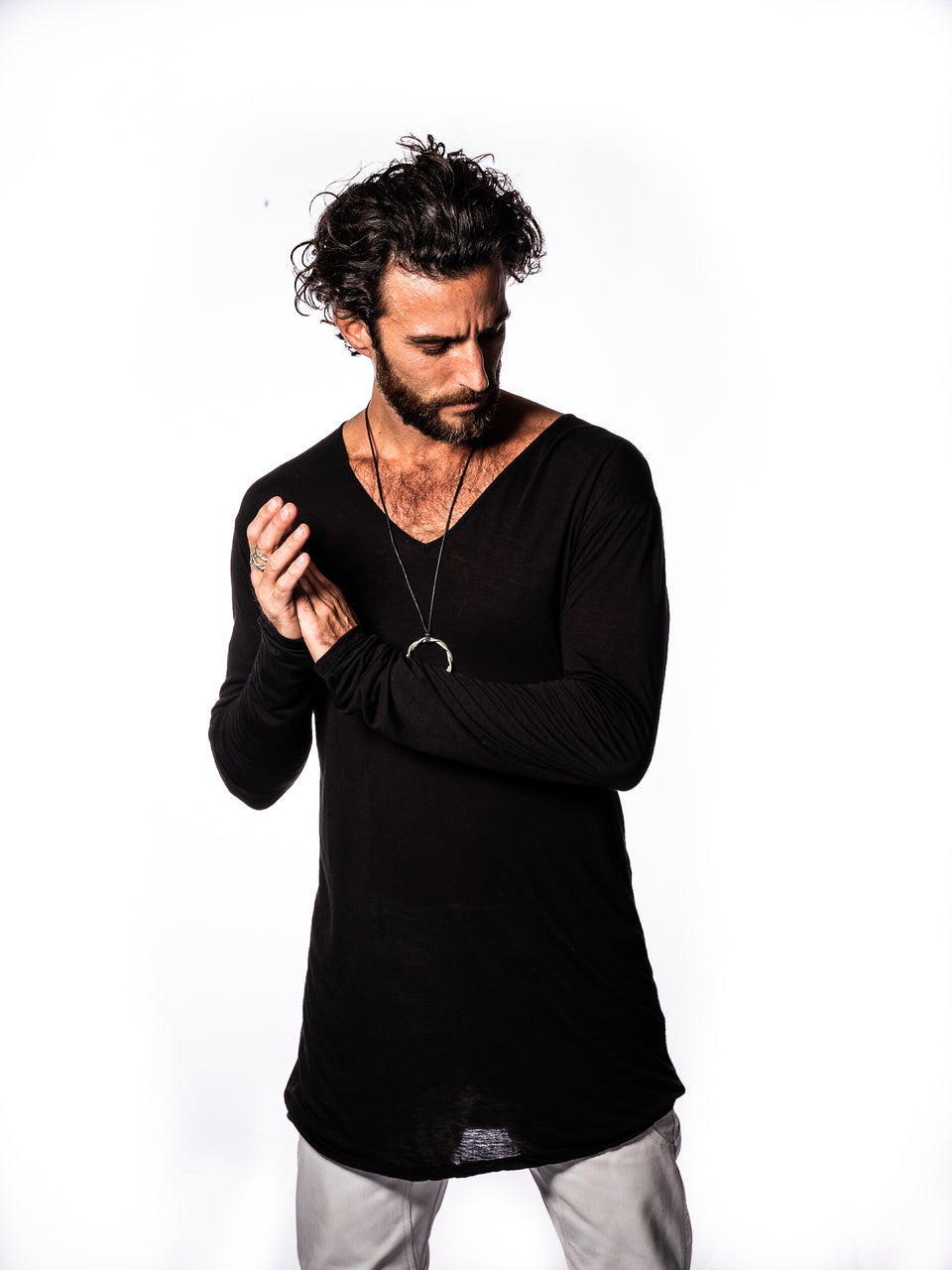 Long Sleeve V-Neck Shirt - Black Magick