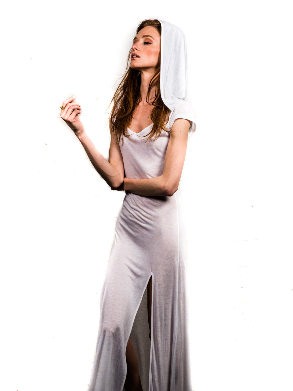Short Sleeve Scoop Neck Dress with Hood - Illuminated White