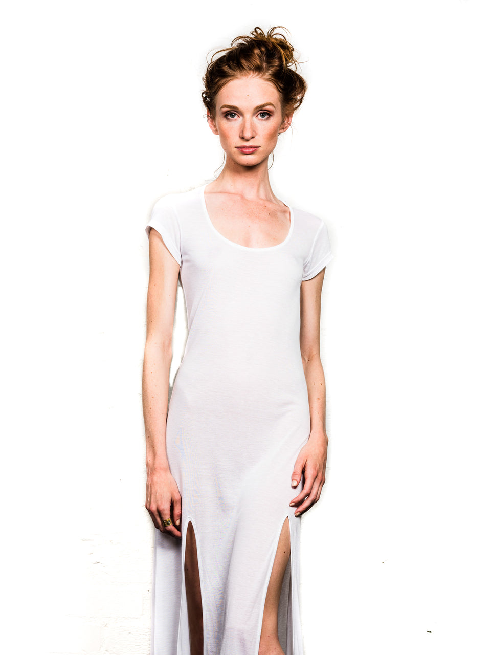 Short Sleeve Scoop Neck Dress - Illuminated White
