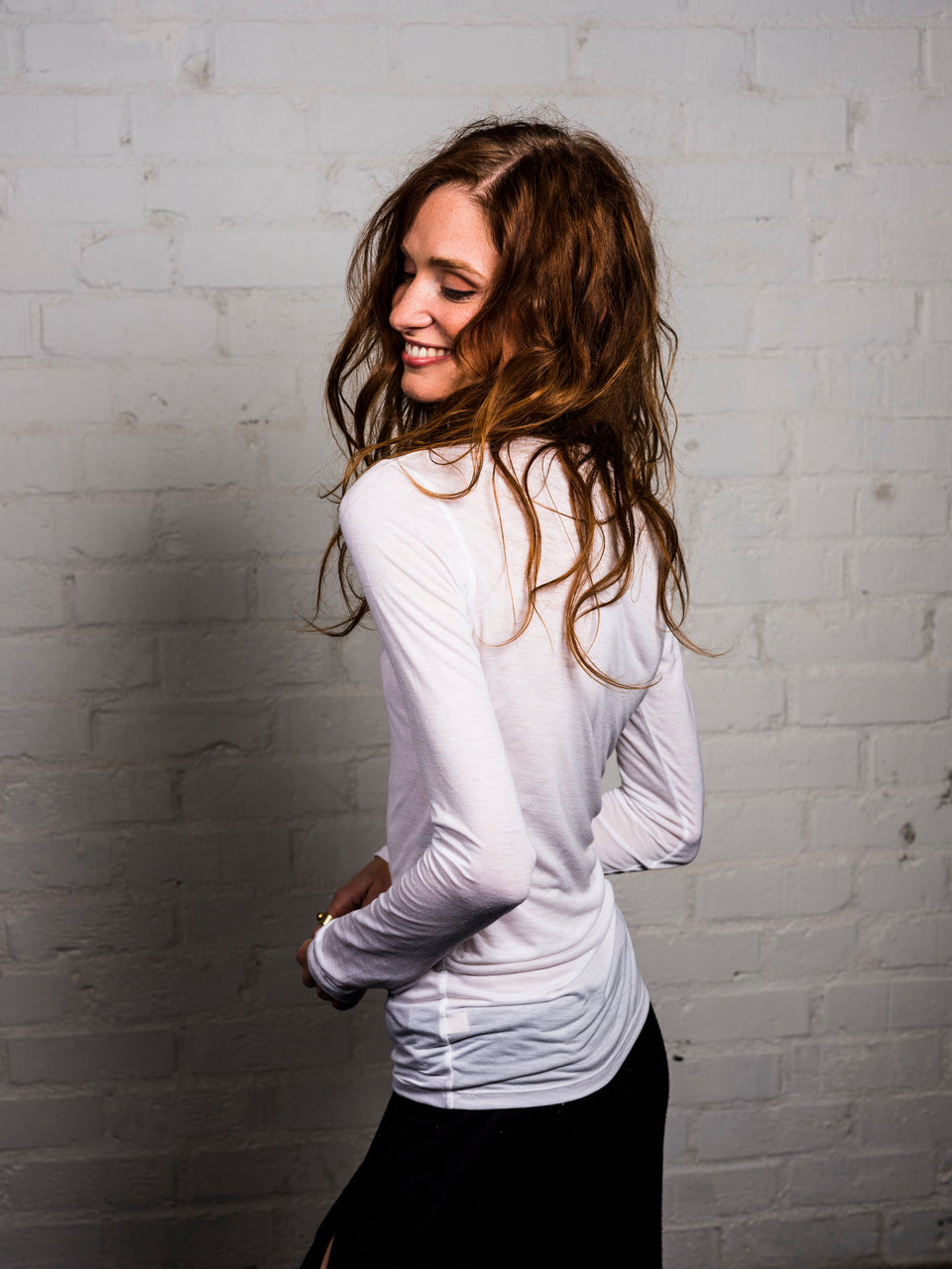 Long Sleeve Scoop Neck Shirt - Illuminated White