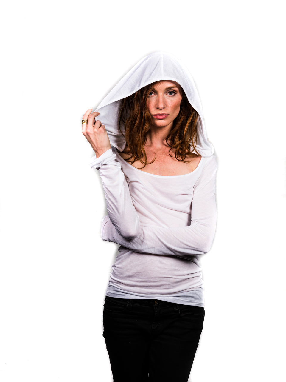 Long Sleeve Shirt with Hood - Illuminated White