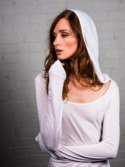 Mystic - Illuminated White - Long Sleeve Shirt with Hood