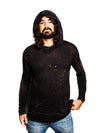 Falcon - Vintage Cosmic Black - Long Sleeve Shirt with Hood