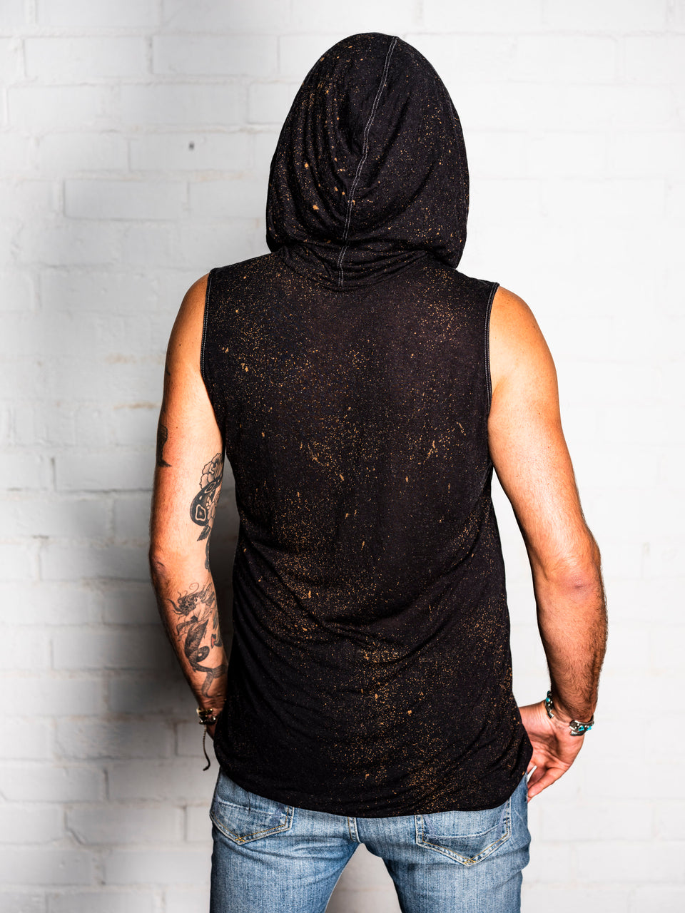 Sleeveless V-Neck Shirt with Hood - Vintage Cosmic