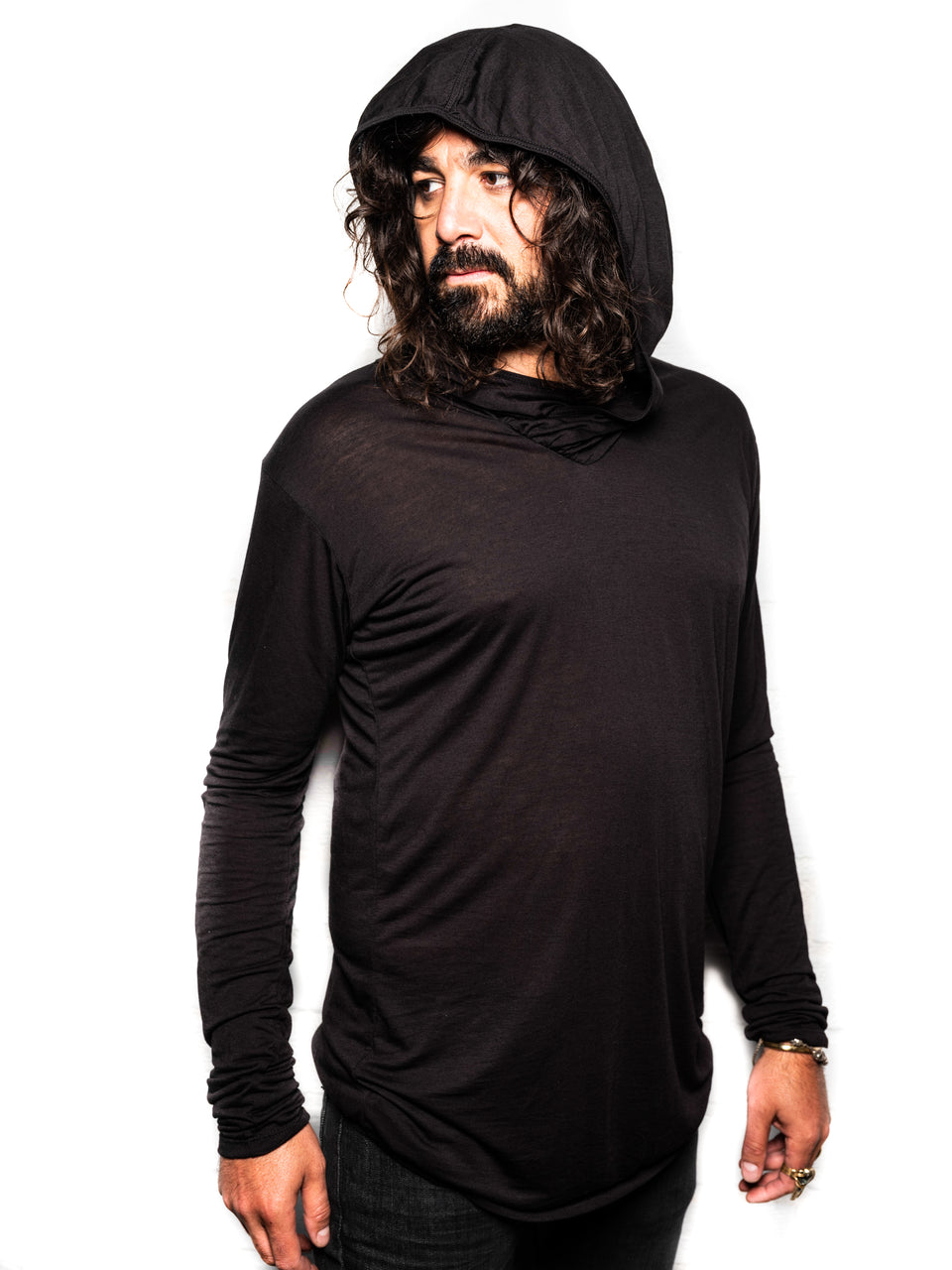 Long Sleeve V-Neck Shirt with Hood - Black Magick