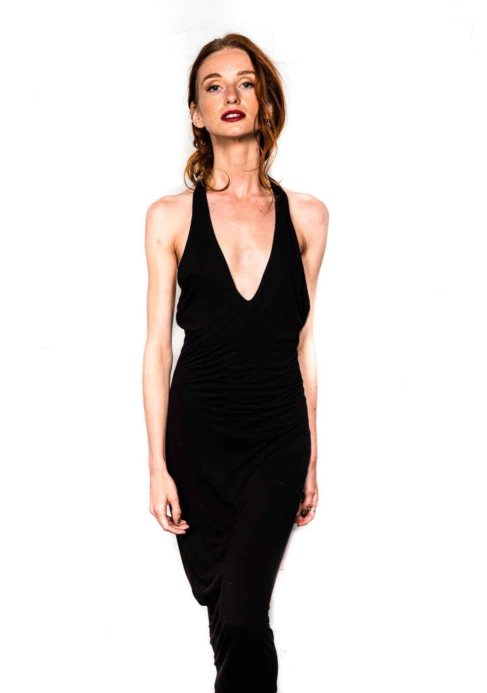 T-Back V-Neck Dress - Black Magick