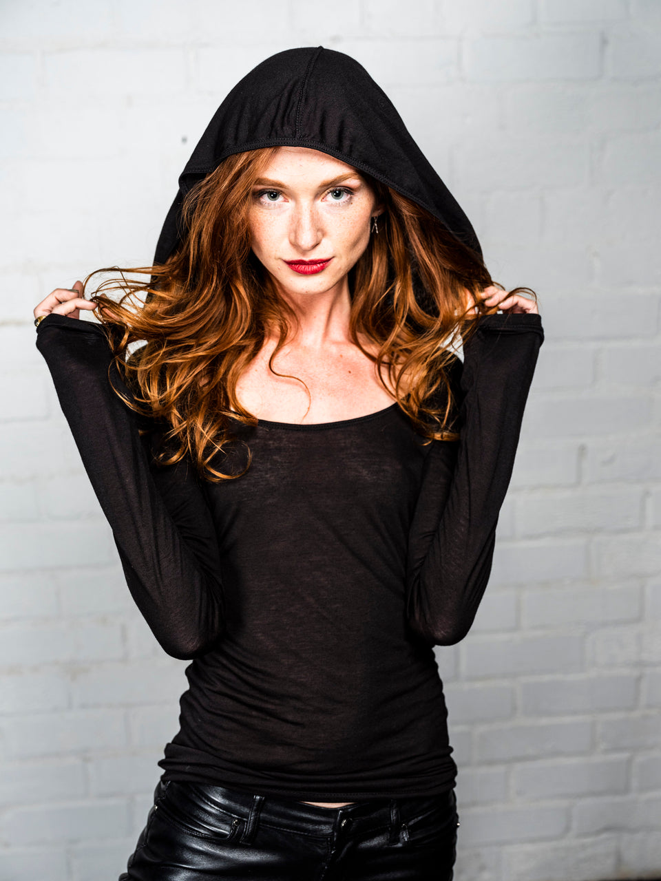 Long Sleeve Scoop Neck Shirt with Hood - Black Magick