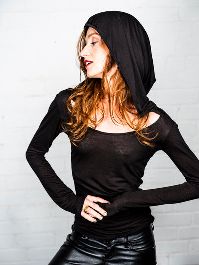 Mystic - Black Magick - Long Sleeve Shirt with Hood