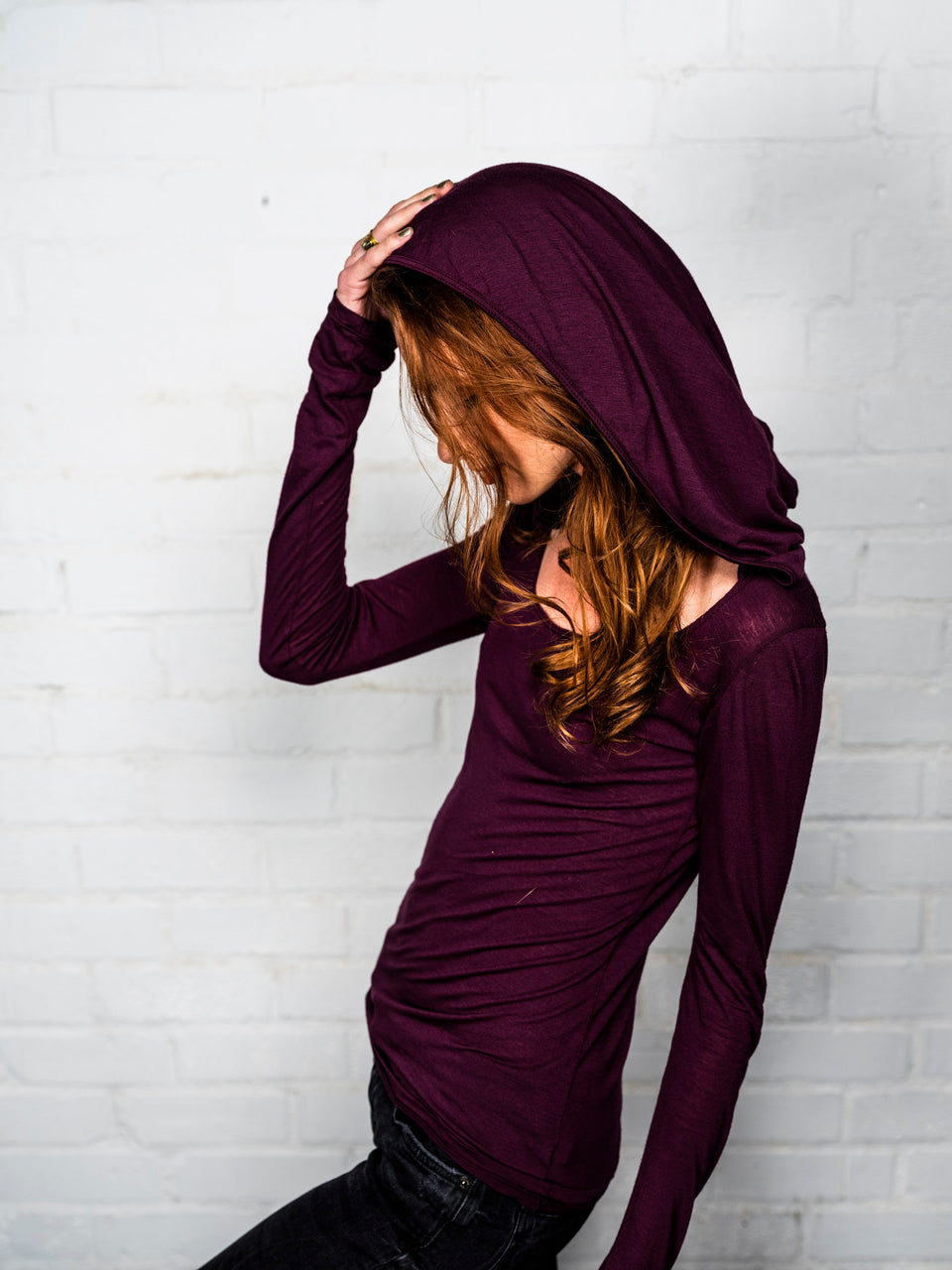 Long Sleeve Scoop Neck Shirt with Hood - Coeur Crimson