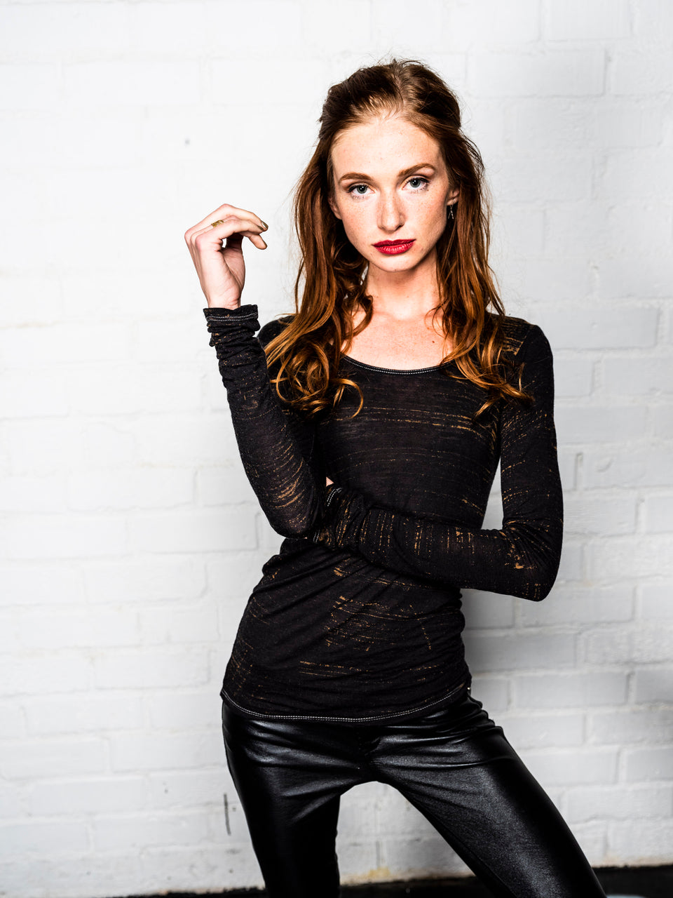 Long Sleeve Scoop Neck Shirt - Vintage Meteor Black