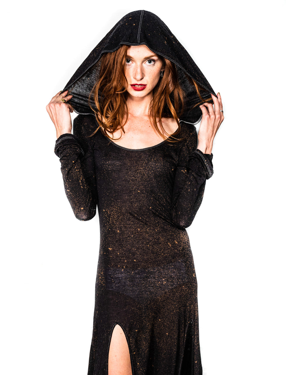 Long Sleeve Scoop Neck Dress with Hood - Vintage Cosmic Black