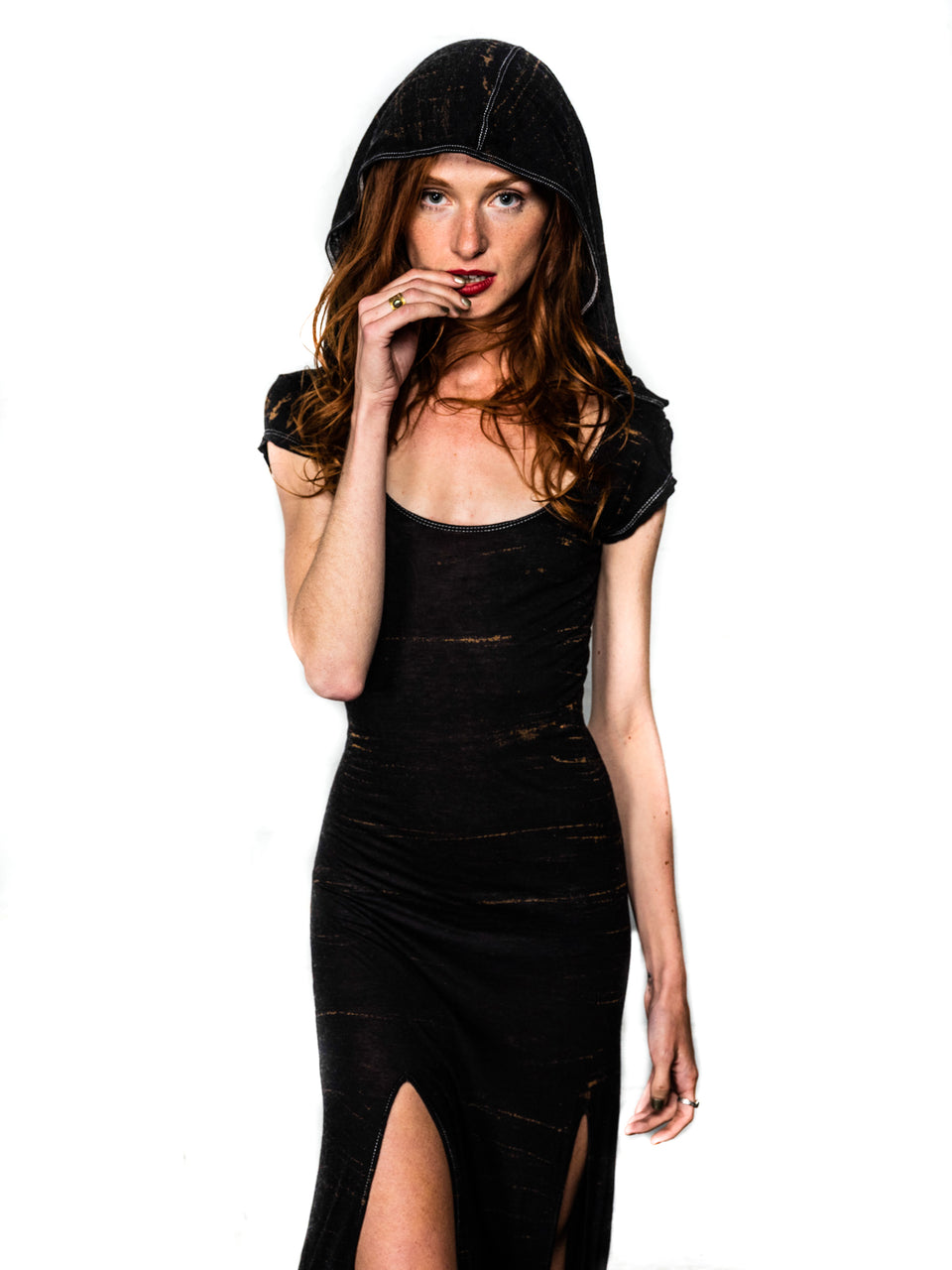 Short Sleeve Scoop Neck Dress with Hood - Vintage Cosmic Black