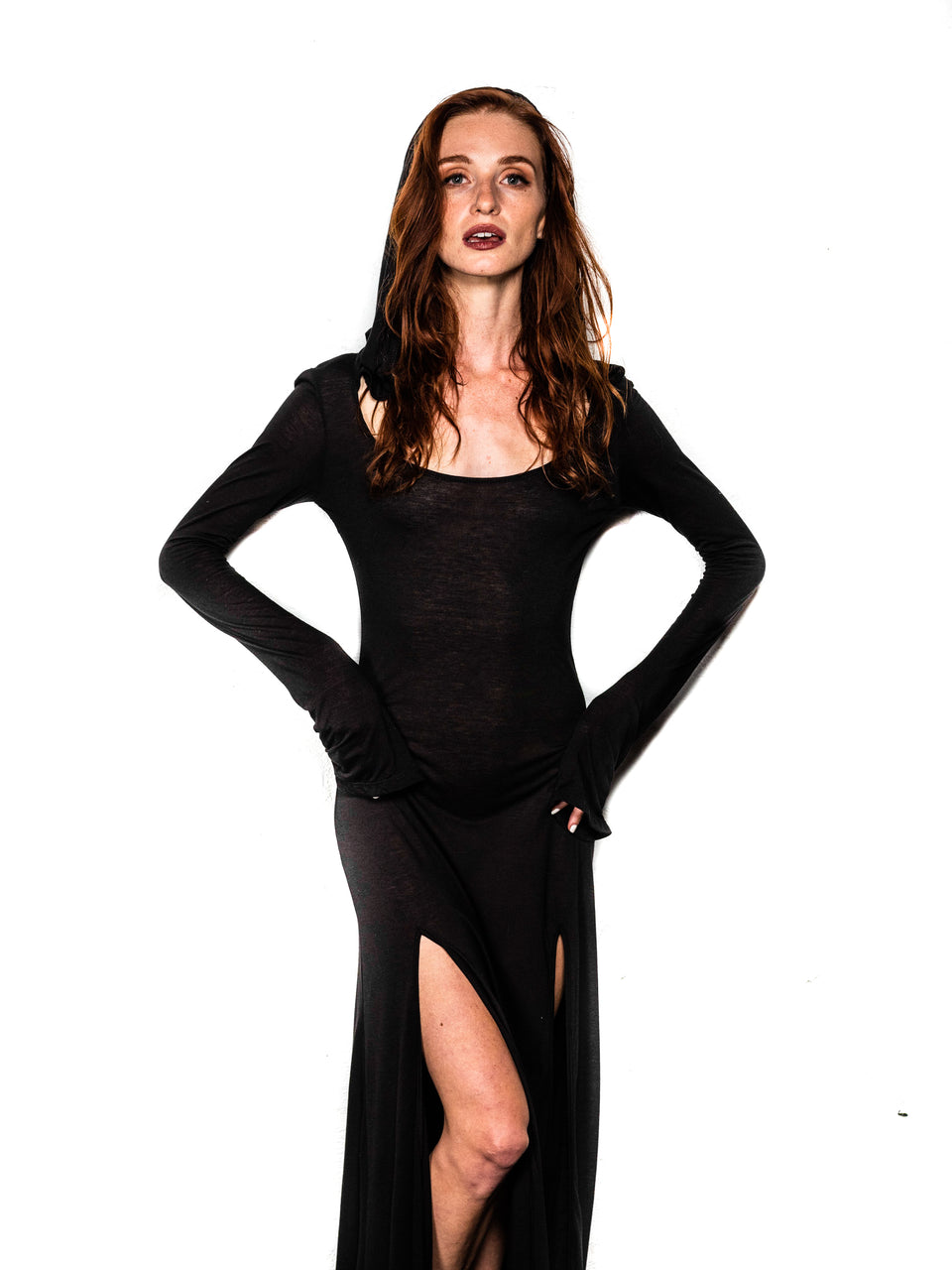 Long Sleeve Scoop Neck Dress with Hood - Black Magick