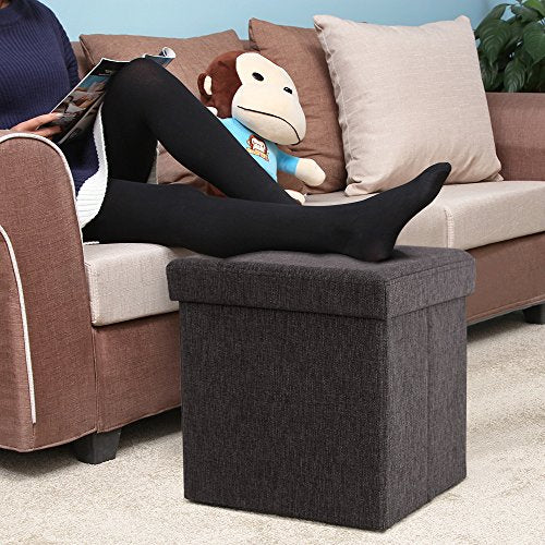 Image of   38 X 38 X 38 Cm Bean Bag Cube Footstool Stool container pieghevo Linen Dark Brown