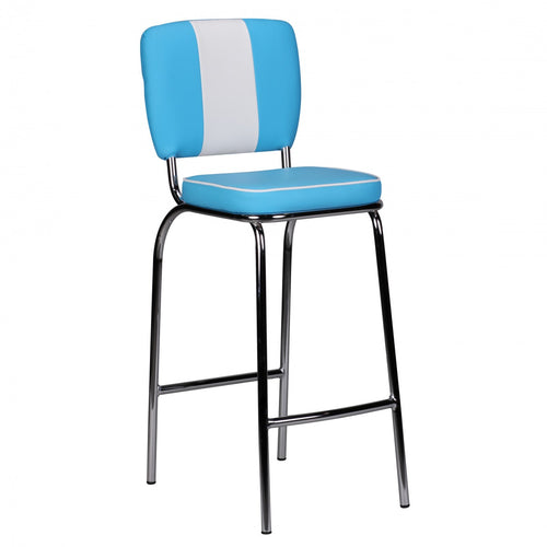 Resident Bar Chair American Diner 50's Retro Blue White Barstool Tresenstuhl Ny - Lammeuld.dk