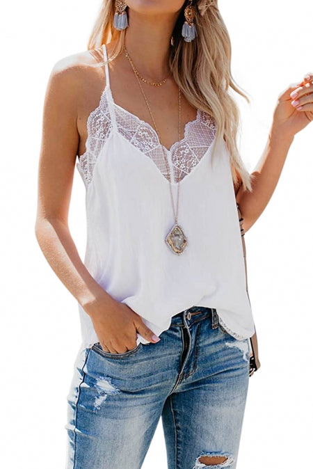 White - Delicate Balance Lace Cami Tank Top