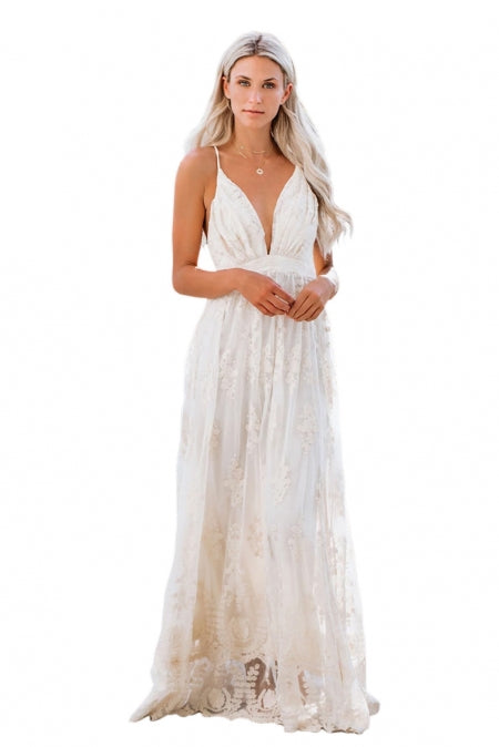 White - It Was All A Dream Lace Maxi Dress