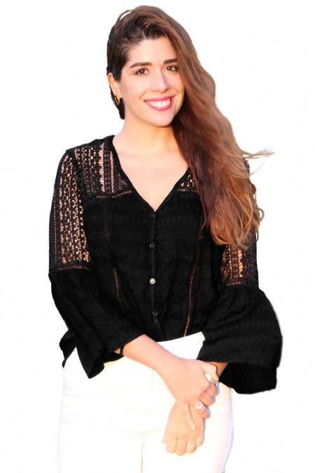 Black - The Du Jour Crochet Blouse