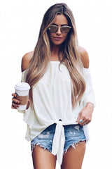 White - Off The Shoulder Knot Front Top