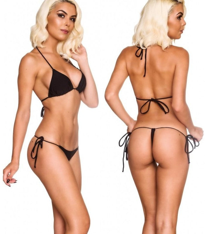 Black - Tri Top and G String Thong Bottom Micro Bikini Set