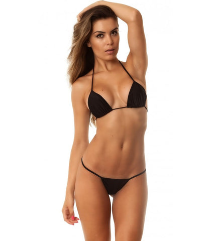 Black - Tri Top and Micro Thong Bottom Bikini Set