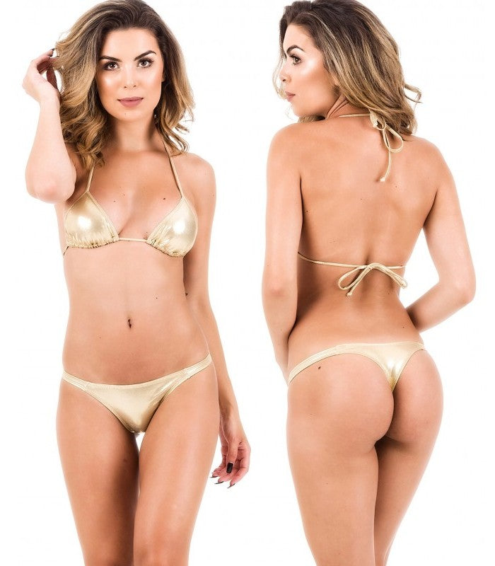 Gold - Tri Top and Thong Bottom Micro Bikini Set