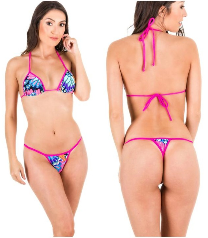 Peacock - Tri Top and Micro Thong Bottom Bikini Set