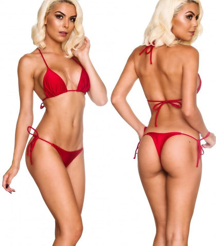 Red - Tri Top and String Thong Bottom Micro Bikini Set